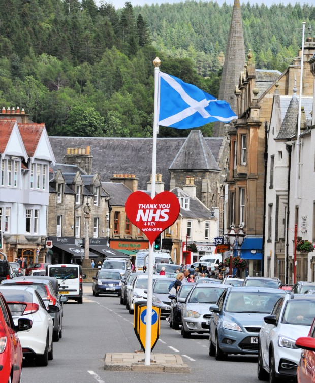 Flag Thanking NHS Scotland On Peebles High Street, July 2020
