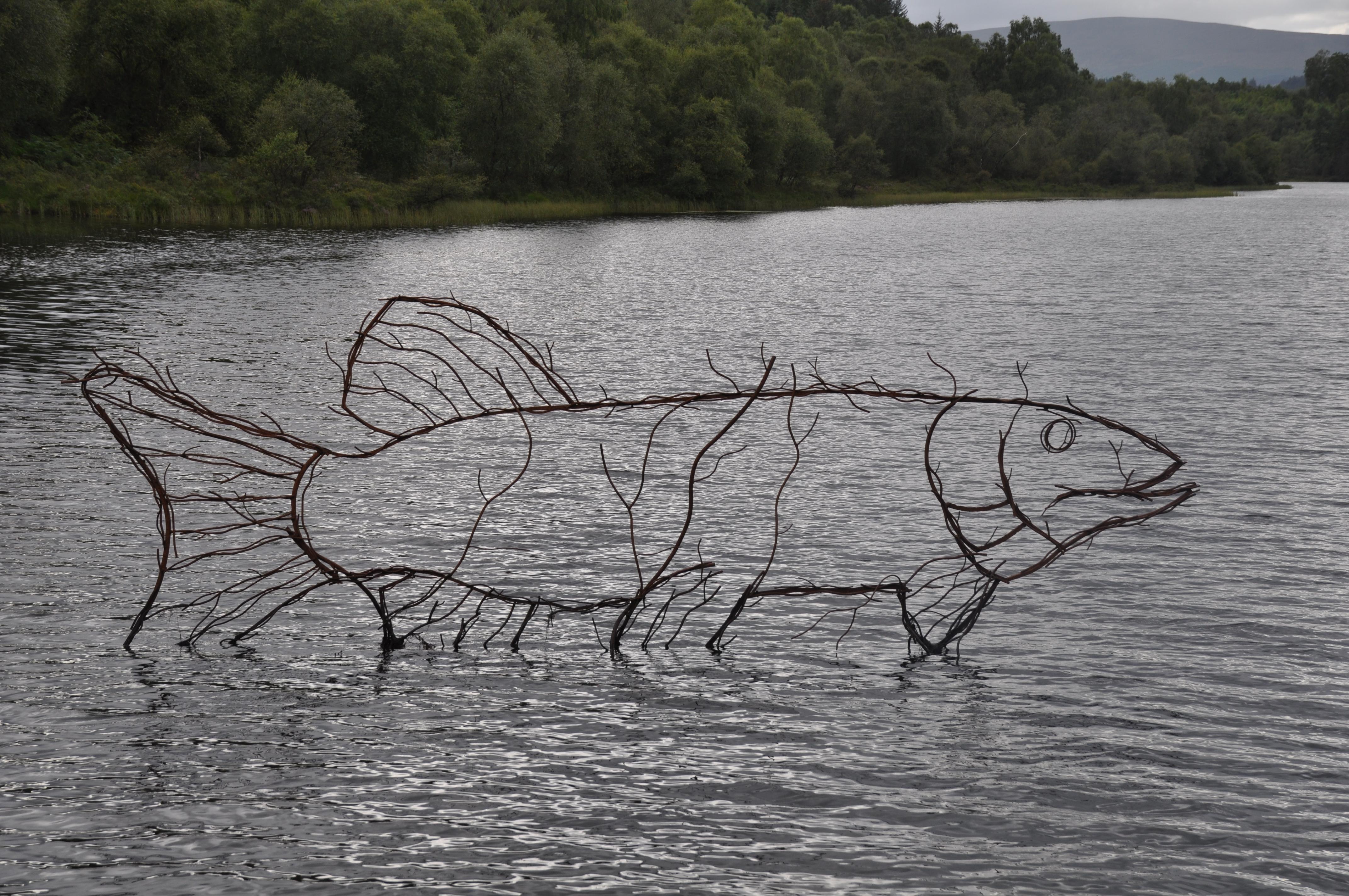 Sculpture of a pike at Lochan Spling, Scotland