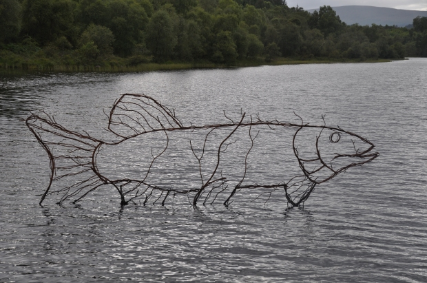 Sculpture of a pike at Lochan Spling, Scotland