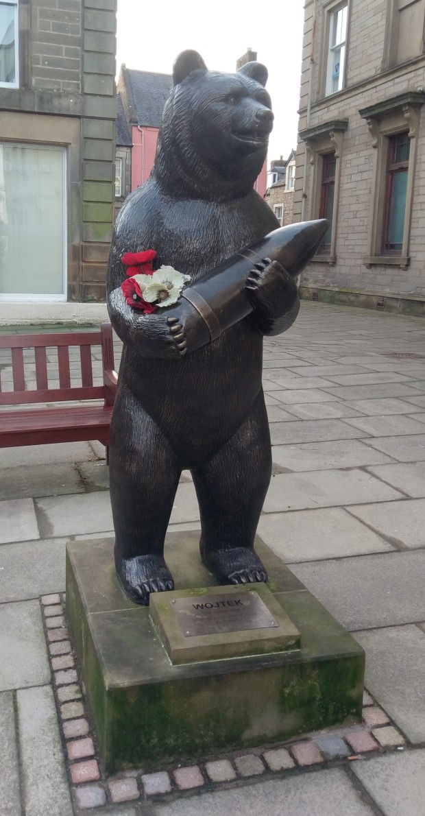 Statue of Wojtek the bear, in Duns, Scottish Borders