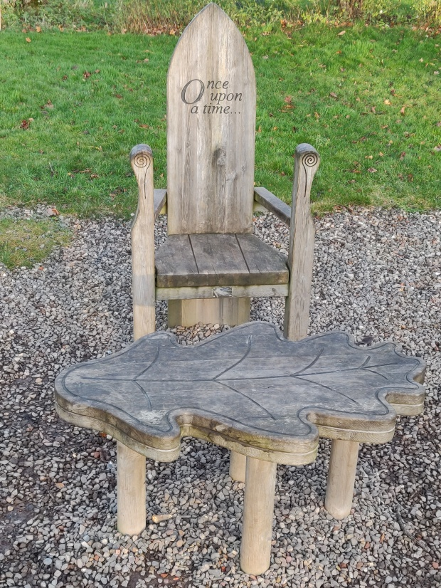 Carved chair at Vogrie House, Midlothian