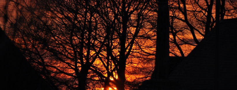 Sunset on the evening of the spring equinox 2021