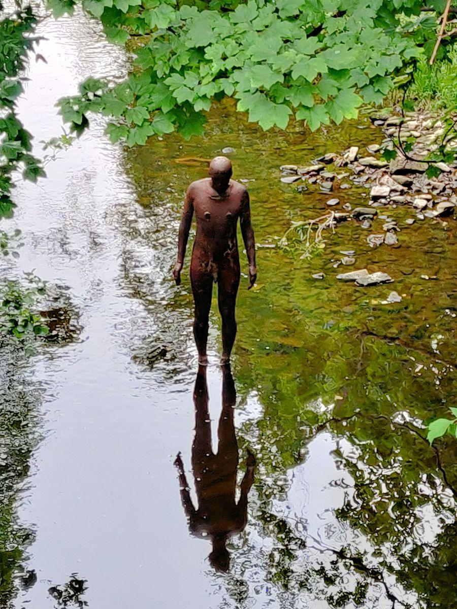 Antony Gormley Sculpture, Stok Bridge, Water of Leith, Edinburgh