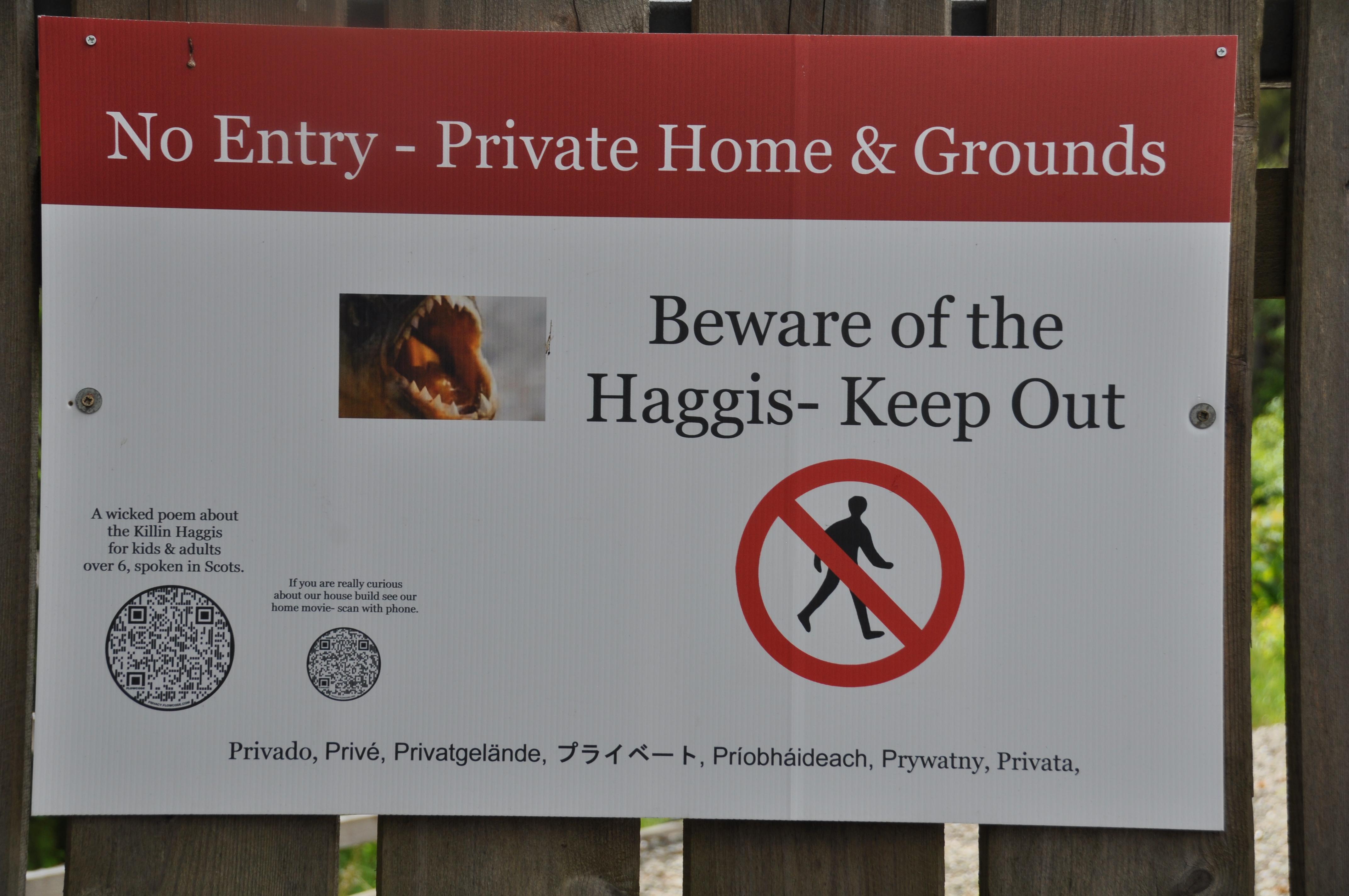 Warning Sign - Beware OfThe Haggis