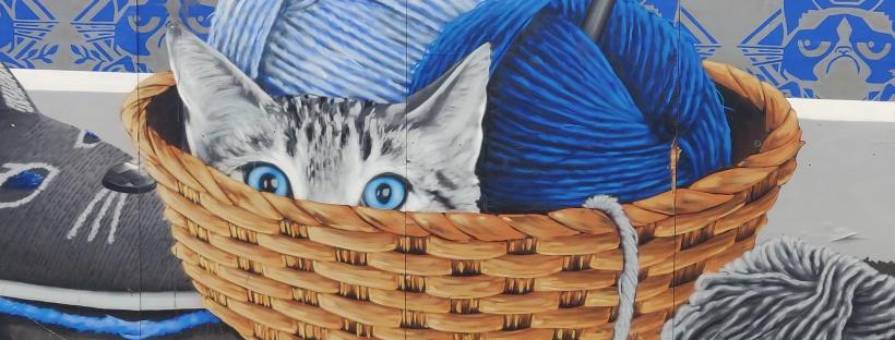 Painting of Kitten In Wool Basket